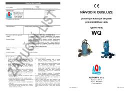 Návod k obsluze ponorných kalových čerpadel WQ