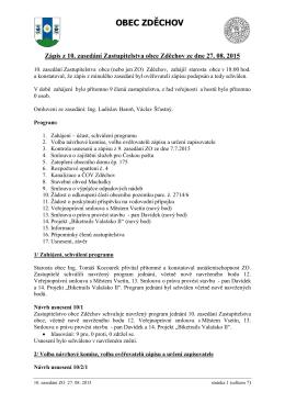Zápis z 10. zasedání Zastupitelstva obce Zděchov ze dne 27. 08. 2015