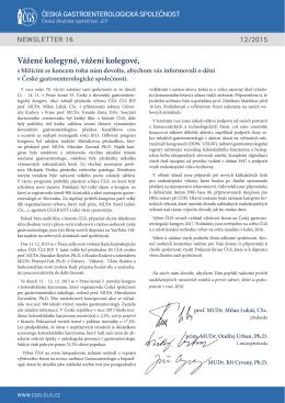 stáhnout newsletter - Česká gastroenterologická společnost