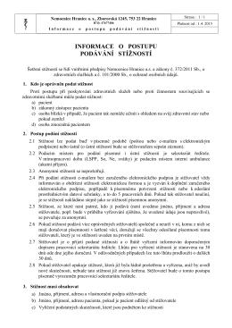 Informace o postupu podávání stížností