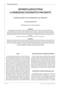 Spondylodiscitida u hemodialyzovaných pacientů Ivana