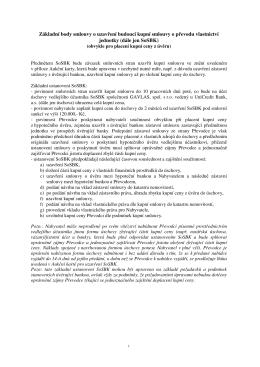 Základní body smlouvy o uzavření budoucí kupní smlouvy o převodu
