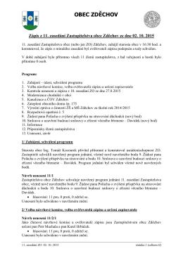 Zápis z 11. zasedání Zastupitelstva obce Zděchov ze dne 02. 10. 2015