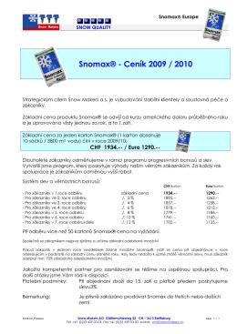 Snomax® - Ceník 2009 / 2010