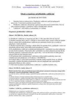 Obsah a organizace předškolního vzdělávání - MŠ Srdíčko