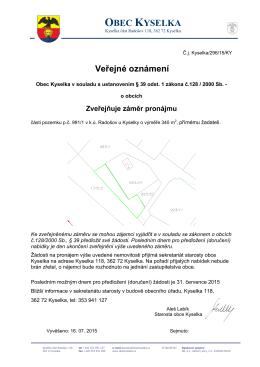 Záměr pronájmu pozemku v k.ú. Radošov u Kyselky