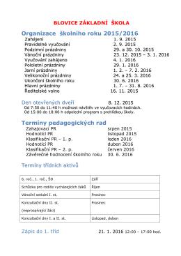 organizace školního roku 2015/16