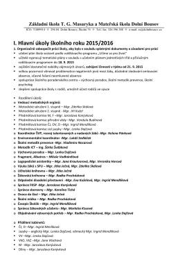 I. Hlavní úkoly školního roku 2015/2016