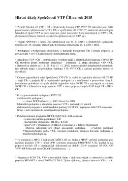 Hlavní úkoly Společnosti VTP ČR na rok 2015