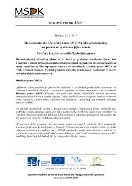 Tisková zpráva - Moravskoslezský dřevařský klastr