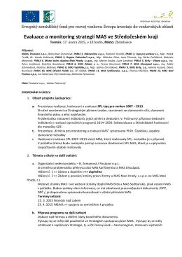 Evaluace a monitoring strategií MAS ve Středočeském