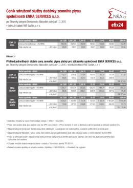 Ceník plynu v distribuční oblasti RWE GasNet
