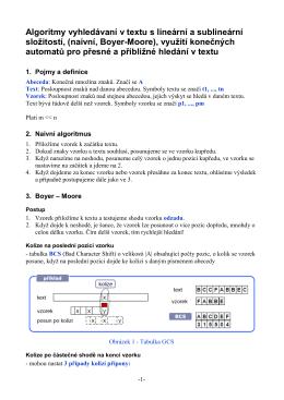 Algoritmy vyhledávaní v textu s lineární a sublineární - OI-Wiki