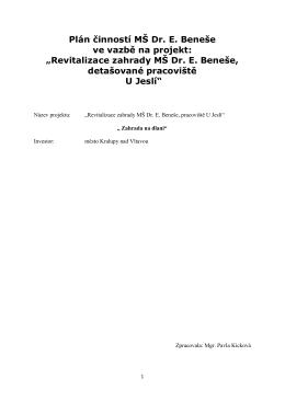 Plán činností - MŠ Dr. E.Beneše, Kralupy nad Vltavou