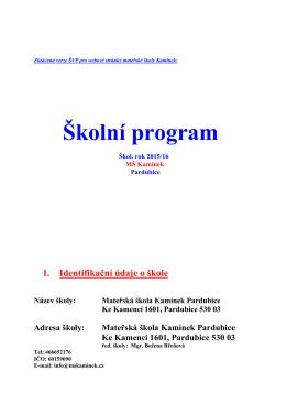 Školní program - Mateřská škola Kamínek
