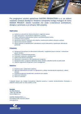 Pro progresivní výrobní společnost GASTRO PRODUCTION s.r.o. se