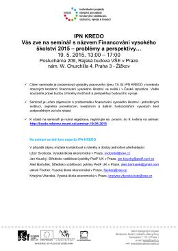 Pozvánka a program semináře ke stažení