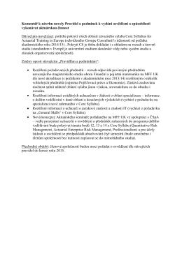 Komentář k návrhu novely Pravidel a podmínek k