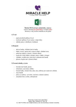 Školení MS Excel pro začátečníky, osnova: (osnova školení pro