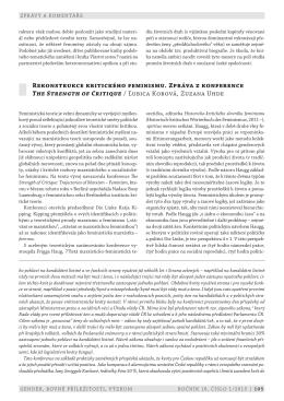 (cs) - Gender, rovné příležitosti, výzkum
