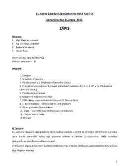 zápis a usnesení ze zasedání zastupitelstva obce
