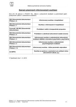 Seznam písemných informovaných souhlasů