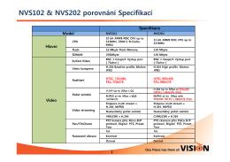 NVS102 & NVS202 porovnání Specifikací