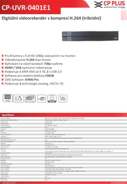 CP-UVR-0401E1 Digitální videorekordér s kompresí H