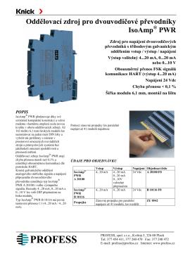 Oddělovací zdroj pro dvouvodičové převodníky IsoAmp PWR