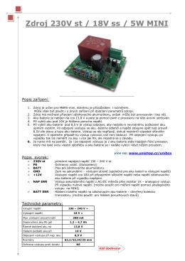 Zdroj 230V st / 18V ss / 5W MINI - ESHOP