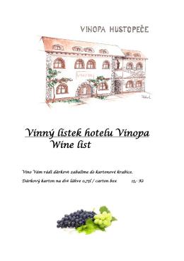 Vinný lístek hotelu Vinopa Wine list
