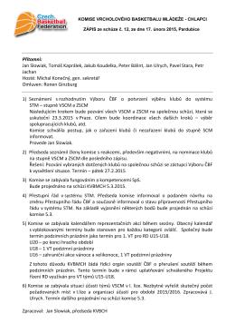 Zápis z jednání Komise vrcholového basketbalu