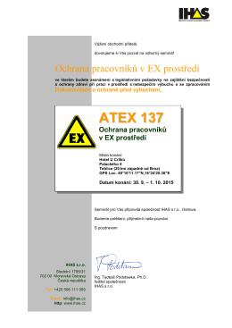 ATEX 137 Ochrana pracovníků v EX prostředí