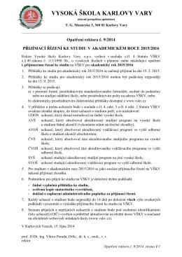 Opatření rektora č. 9/2014 - Vysoká škola Karlovy Vary