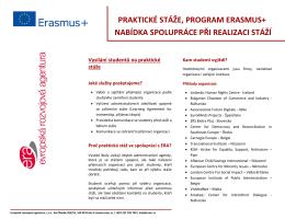 PRAKTICKÉ STÁŽE, PROGRAM ERASMUS+ NABÍDKA