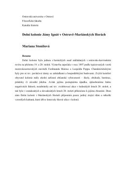 Dolní kolonie Jámy Ignát v Ostravě