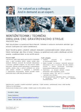 Montážní technik / technička - obsluha CNC gravírovacího stroje
