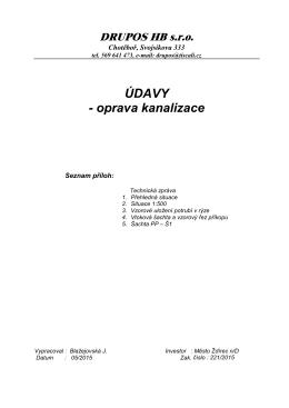 ÚDAVY - oprava kanalizace - Město Ždírec nad Doubravou