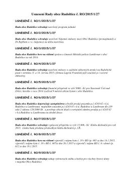 Usnesení Rady obce Rudoltice č. RO/2015/1/27