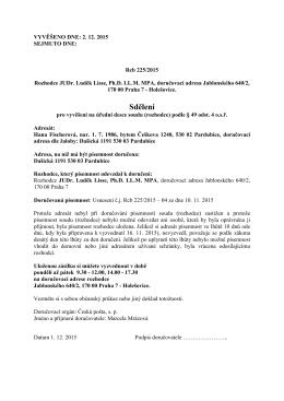 sdělení pro vyvěšení na ÚD rozhodce _§ 49 odst 4