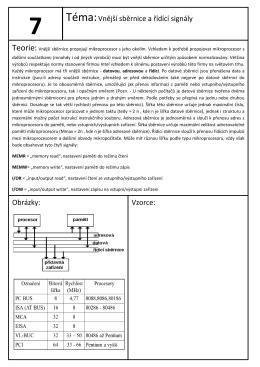 Téma:Vnější sběrnice a řídící signály Obrázky: Vzorce: