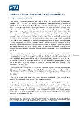 Reklamační a servisní řád společnosti 2N TELEKOMUNIKACE a.s.