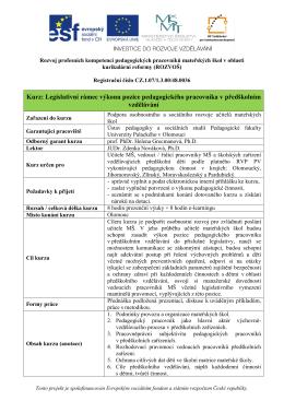 Kurz: Legislativní rámec výkonu pozice pedagogického pracovníka v