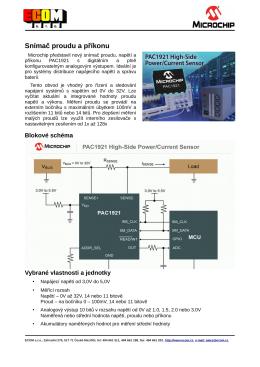 Microchip představil nový snímač proudu, napětí a