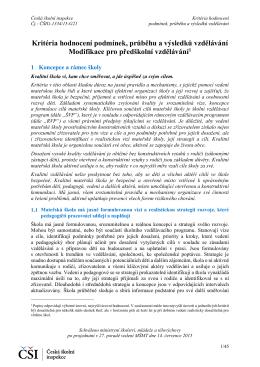 Kritéria hodnocení podmínek, průběhu a výsledků vzdělávání