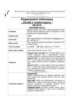 Organizační informace - První soukromé jazykové gymnázium