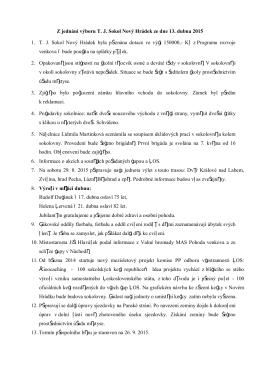 Z jednání výboru T. J. Sokol Nový Hrádek ze dne 13. dubna 2015 1