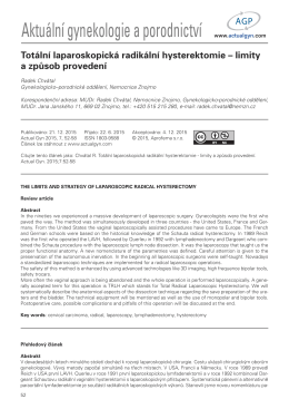 Totální laparoskopická radikální hysterektomie – limity a způsob