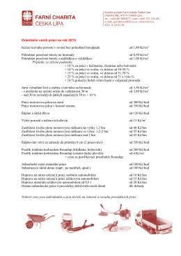 Ceník Sociálního podniku pro rok 2015