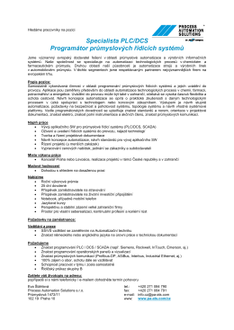 Specialista PLC/DCS Programátor průmyslových řídicích systémů